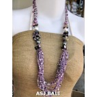 bali beads necklaces with shells purple multiple strand