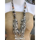 bali beads necklaces with shells white mix multi strand