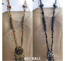 2 color bead stone necklaces flower pendant single long wired