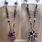 beads necklaces pendant flower stone long strand wired two color