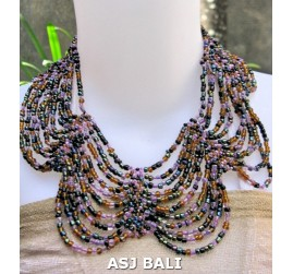 butterfly necklaces beads multiple strand mix color purple