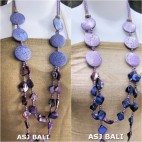 double long strand necklaces shells bead purple wooden coins
