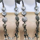 double long strand necklaces shells bead wood black color