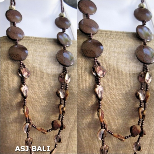 double long strand necklaces shells bead wood brown color