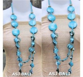 double long strand necklaces shells bead wood turquoise colors
