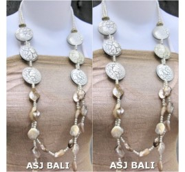 double long strand necklaces shells bead wood white color