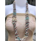 fashion beads necklaces color mix long strand wrap natural