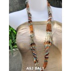 fashion beads necklaces color mix long strand wrap orange