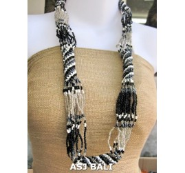 fashion glass beads necklaces color mix long strand wrap black