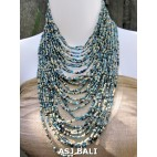 fashion necklace blue mix beads multiple strand design