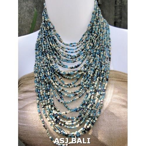 fashion necklace blue mix beads multiple strand design