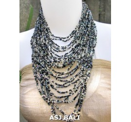 fashion necklaces abalone color beads multiple strand design