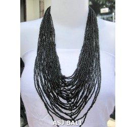 fashion necklaces beads black color multiple strand design