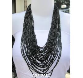 fashion necklaces beads black color multiple strand design