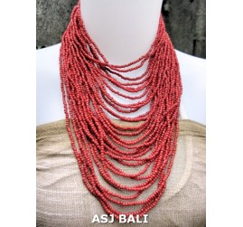 fashion necklaces beads red color multiple strand design