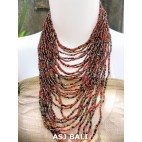 fashion necklaces beads red mix multiple strand design