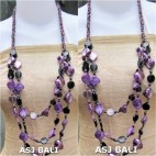 fashion necklaces glass bead with shells nuged purple mix
