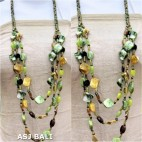 fashion necklaces glass beaded with shells nuged dark green