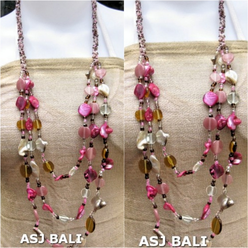 fashion necklaces glass beaded shells nuged pink mix
