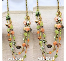 fashion necklaces glass beads with shells nuged dark green lime