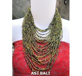 fashion necklaces green mix beads multiple strand design