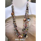 glass beads necklaces with shells nuged mix multi
