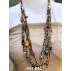 glass beads necklaces with shells nuged mix gold brown