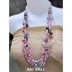 glass beads necklaces with shells nuged mix pink