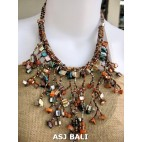 handmade unique beads women necklaces shell bead mix color