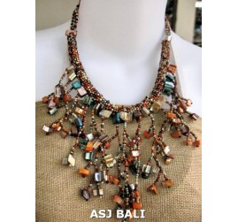 handmade unique beaded women necklaces shell bead mix color