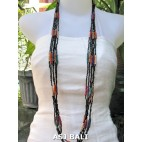 long strands necklaces beads combine color black