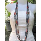 long strands necklaces beads combine color grey
