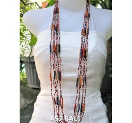 long strands necklaces glass beads mix combine color
