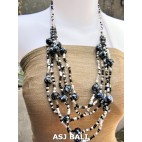 multi strand necklaces beads with wooden painting black