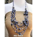 multi strand necklaces beads with wooden painting blue