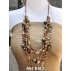 multi strand necklaces beads with wooden painting brown