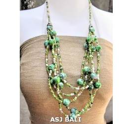 multi strand necklaces beads with wooden painting green