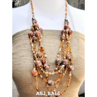 multi strand necklaces beads with wooden painting orange