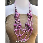 multi strand necklaces beads with wooden painting pink