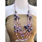 multi strand necklaces beads with wooden painting purple