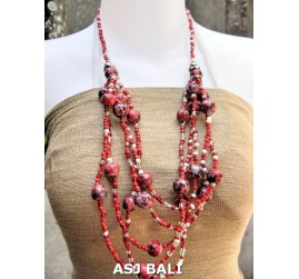 multi strand necklaces beads with wooden painting red
