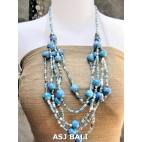multi strand necklaces beads with wooden painting turquoise