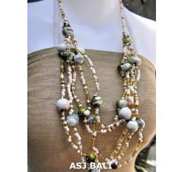 multi strand necklaces beads with wooden painting white