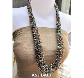 multiple color glass beads grass system fashion necklaces