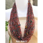 multiple strand fashion necklaces glass beads red mix color style