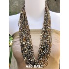 multiple strand fashion necklaces glass beads yellow mix color style