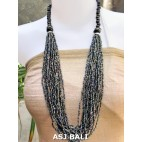 multiple strand necklaces beaded with wooden seeds abalone