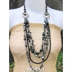 necklaces mix bead shells glass strand black color design