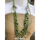 necklaces mix bead shells glass strand green design