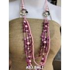 necklaces mix bead shells glass strand pink design